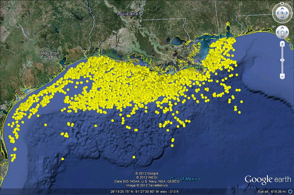 Oil Rigs In Gulf Of Mexico Map.Us Gulf Of Mexico Oil And Gas Platforms Google Earth View Flickr