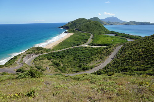 ocean road trees sea beach island sand path sony horizon atlantic views caribbean alpha stkitts panarama a77