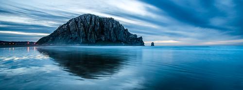 ocean california longexposure winter sunset panorama mist reflection beach clouds sand rocks illumination calm nd coastline morrobay centralcoast