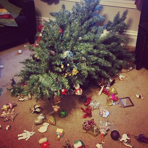 Ellie broke the Christmas tree. And my heart. #hormonemeltdown