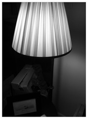 lamp, light fixture, white, lampshade, light, monochrome photography, interior design, black-and-white, lighting, black,