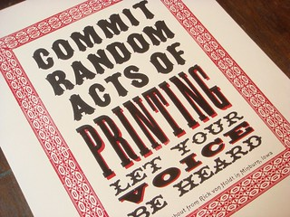 Commit Random Acts of Printing letterpress poster