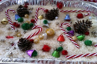 Christmas Sensory Tub (Photo by Ness from One Perfect Day at Kids Activities Blog)