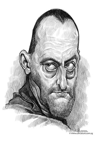 digital caricature sketch of Jean Reno
