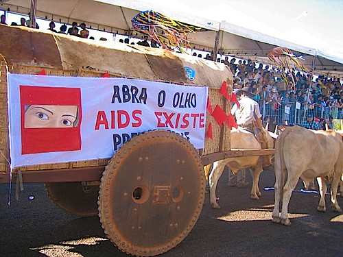 "The banner reads "" Open your eyes, Aids exists"""