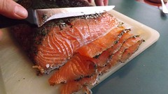 animal(0.0), salmon-like fish(0.0), fish(0.0), salmon(1.0), fish(1.0), seafood(1.0), lox(1.0), food(1.0), cuisine(1.0), smoked salmon(1.0),