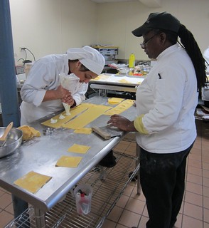 Chef Pearl teaches pasta-making to students