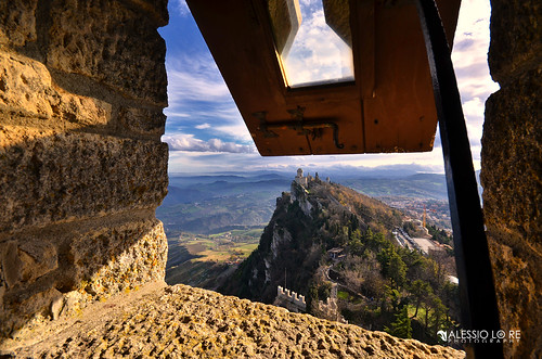 wood blue trees light shadow sky sun mountain mountains color colour tree tower castle window rock landscape lights nikon san sanmarino colore open view pov hill watch sigma hills explore colourful 1020mm yesterday 1020 marino d7000