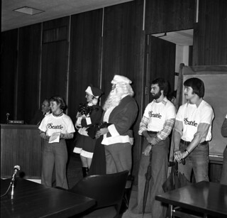 Santa visits City Council chambers, 1977