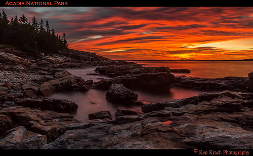 water sunrise rocks maine acadia acadianationalpark