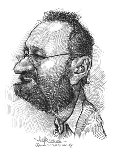 digital caricature sketch of Paco Najera Orteg