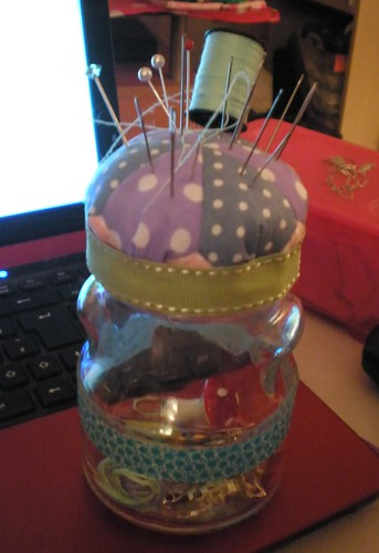 Pin Cushion Jam Jar