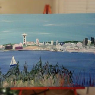 This was what I was working on in my late night painting session-a Christmas gift for my parents.