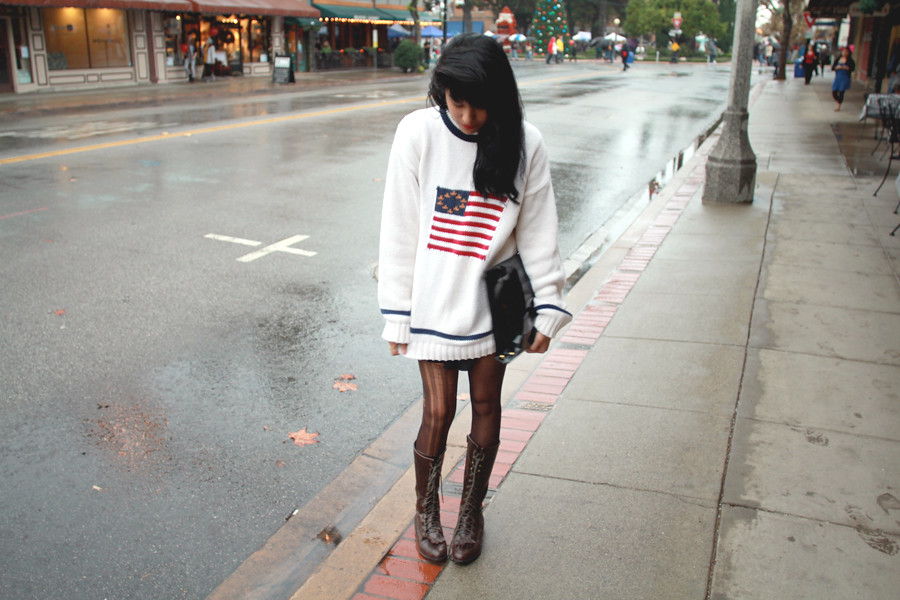 Tarte Vintage American Flag Waffle Knit and Chiffon Strong Shoulder Blouse at shoptarte.com, playsuit, Nasty Gal Patent Clutch