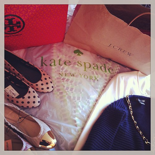 Damage done: total. Happy, happy, happy! #shoppingsuccess #toryburch #katespade #forever21 #jcrew #brooksbrothers