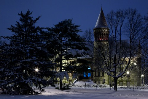 Orton Hall at night, in the snow by andiwolfe