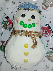 baked goods(0.0), icing(0.0), torte(0.0), cake(1.0), sugar paste(1.0), food(1.0), cake decorating(1.0), snowman(1.0),