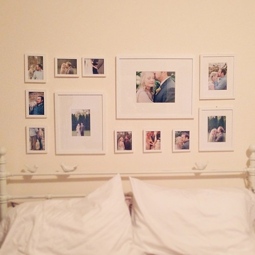 Finally hung our engagement + wedding pictures :) only took at least a year + a half haha #picturewall