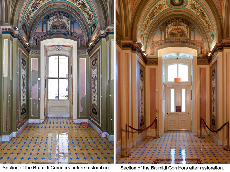 An image of the Brumidi Corridors Restoration showing before & after restoration