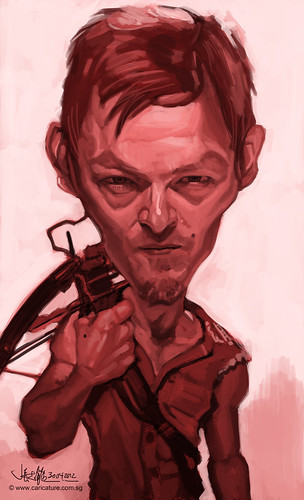 digital caricature of Norman Reedus as Daryl Dixon - 1