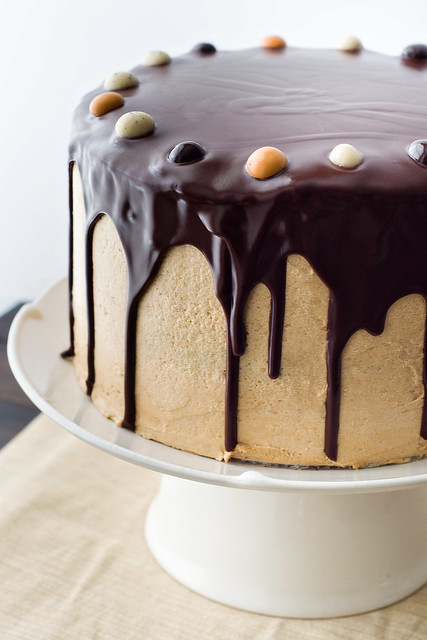 Chocolate Cake with Coffee Buttercream and Dark Chocolate Ganache