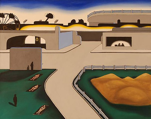 Roger Brown, Amusement Center, Oil on canvas