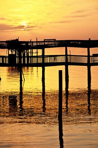 sunset sky reflection gulfofmexico water clouds gold pier dock florida cedarkey