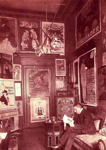 Hans Sachs surrounded by some of his posters, circa 1904