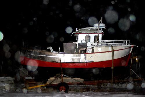 random ship in a snowstorm