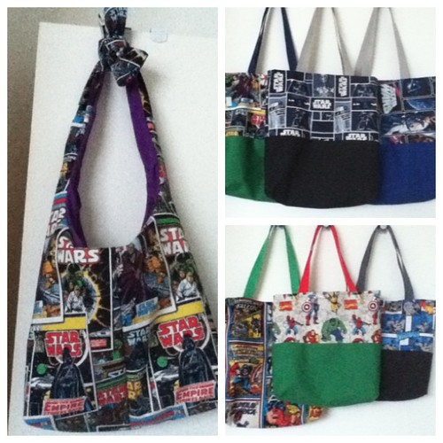 Geeky bags ready to be ironed! #geek #craft #starwars #marvel #batman