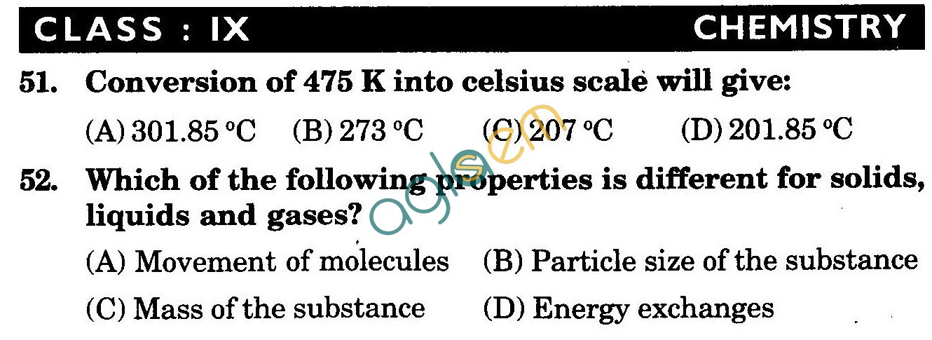NSTSE 2009 Class IX Question Paper with Answers - Chemistry