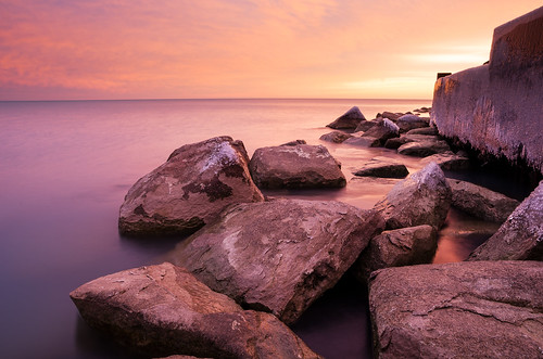 longexposure morning sea lake chicago seascape color ice wall sunrise dawn illinois rocks pentax lakemichigan ember southside hdr lakefront promontorypoint thepoint chicagoist lakescape revetment tamron1750f28 pentaxk5 briankoprowski bkoprowski