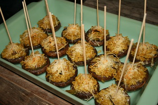Plate of Paella Stuffed Mushroom Caps