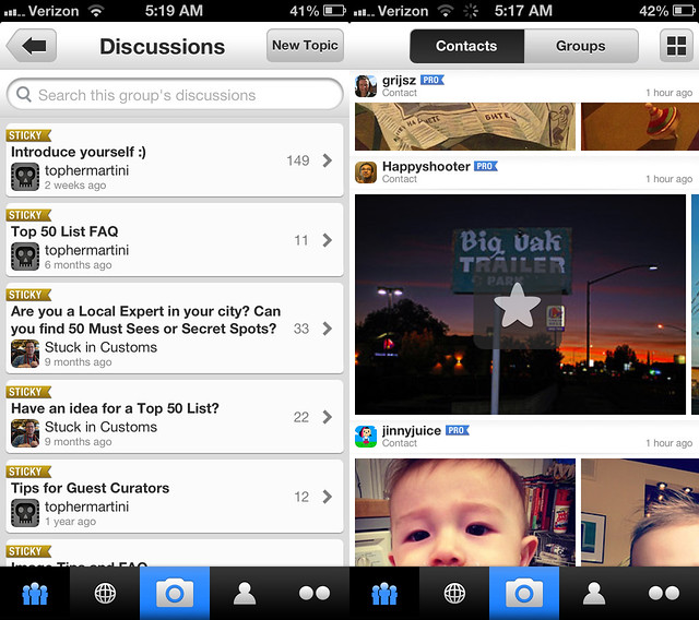 Group Discussions and Faving a Contacts' Photo in the New Flickr iPhone App