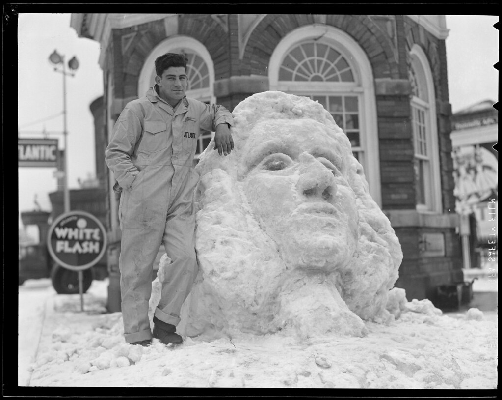 Atlantic oil worker with giant snow face