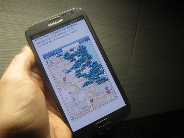 PlowTracker on a Galaxy Note II
