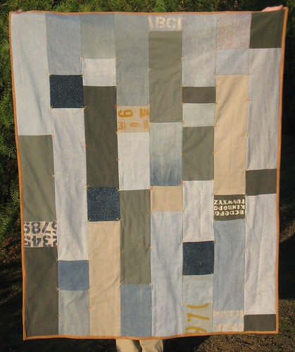 1st Denim Quilt - kids recycled jeans