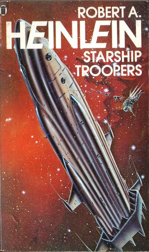 Starship Troopers by Robert Heinlein. NEL 1977. Cover artist Gordon C Davies