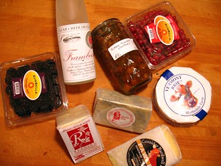 Vermont cheeses, green tomato chutney, red currants and blackberries, and framboise... yummy