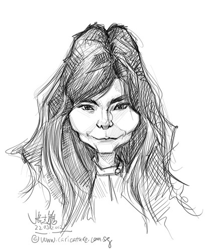 digital caricature sketch of Bjork5