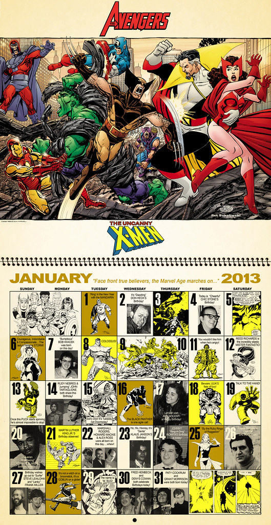 Jan 2013 Mighty Marvel Calendar by Dusty Abell