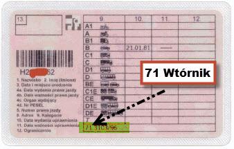Wtórnik prawa jazdy 71
