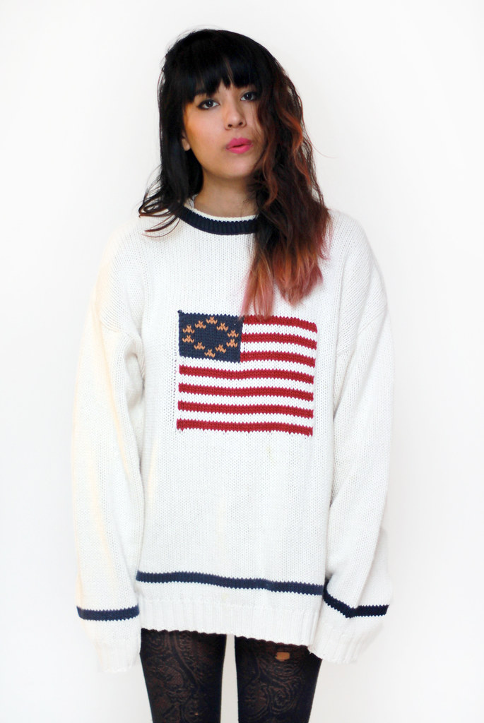 vintage usa american flag waffle knit sweater by Tarte Vintage at shoptarte.com