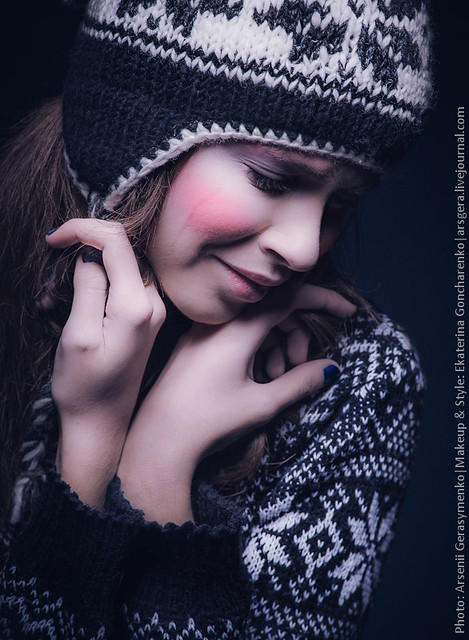 """The Tears"" Project: portrait of a crying girl wearing hat and sweater"