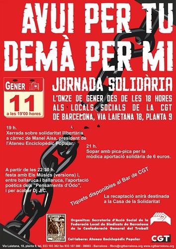 jornada solidària avui per tu demà per mi 11 gener a BCN