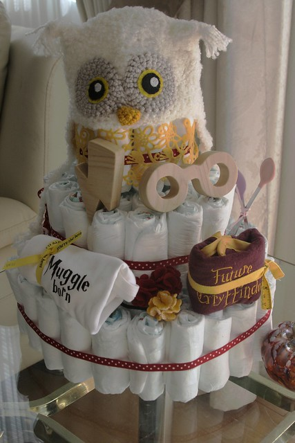 with i made this diaper cake and wanted some hp themed additions
