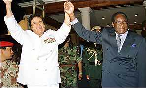 Col. Muammar Gaddafi of Libya and President Robert Mugabe of Zimbabwe. The two states were anti-imperialist pioneers in Africa. by Pan-African News Wire File Photos