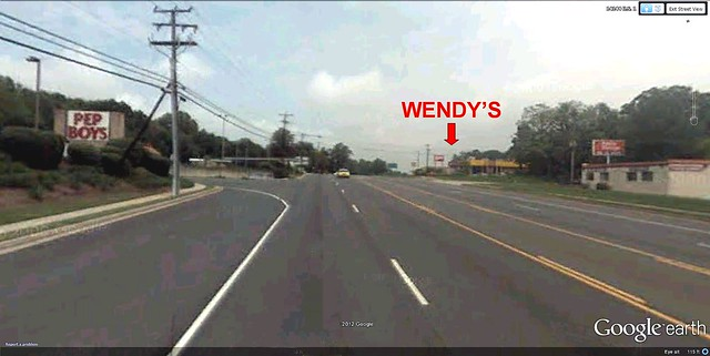 the view on the road (image via Google Earth)