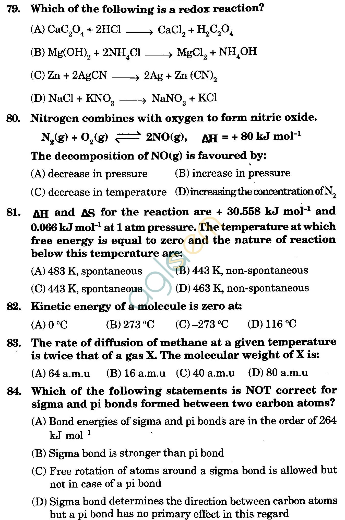 NSTSE 2009 Class XI PCM Question Paper with Answers - Chemistry