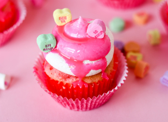 Cute Conversation Heart Cupcakes